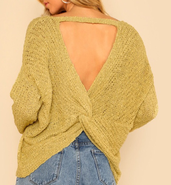 sweater girly knitwear knit knitted sweater cut-out backless backless sweater