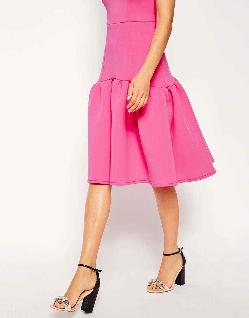 ASOS Premium Drop Waist Peplum Hem Dress at asos.com