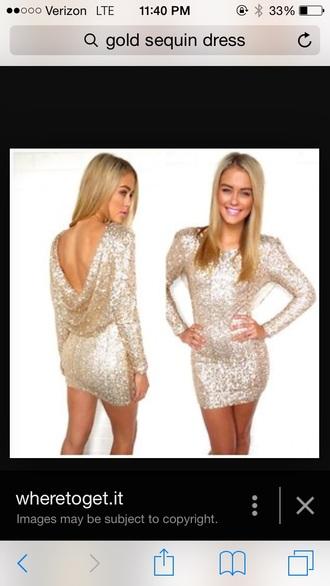 dress gold sequins sequin dress drape back