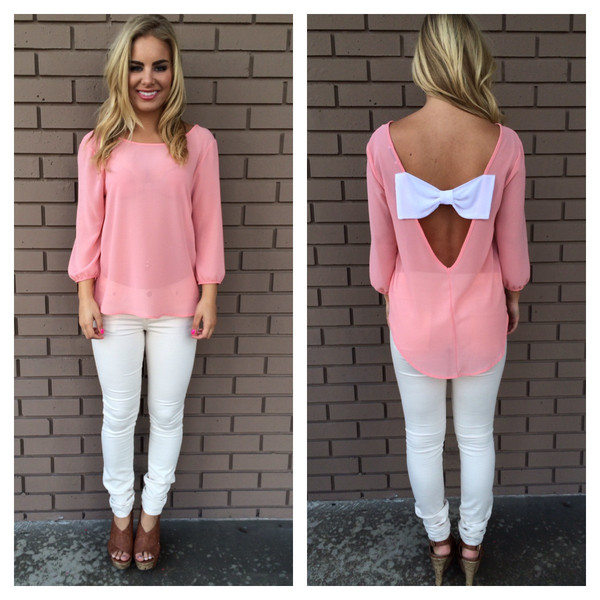 Pink ally bow back chiffon blouse
