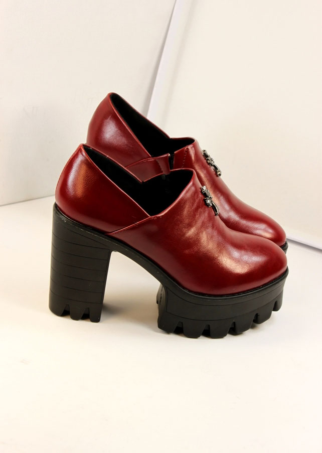 Burgundy Gothic Style Cross Platforms [FABI1728] - PersunMall.com