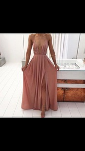 dress,rose gold,long prom dress,classic,satin,maxi dress,prom dress,pink dress,cleavage,nude,straps,plunge neckline,pink,side split maxi dress,side split dress,thin straps,low cut dress,v cut dress,deep v dress,deep v,light pink,formal dress