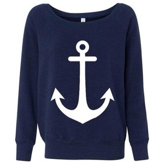 sweater blue pullover preppy vintage sailor anchor
