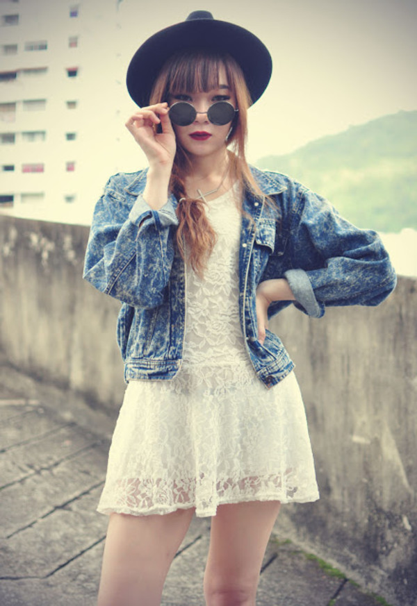 jacket denim denim jacket hat sunglasses