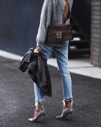 fashionedchic blogger sweater jeans shoes bag jewels gucci bag grey sweater leather jacket high heel pumps pumps winter outfits