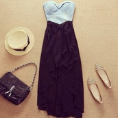 dress,demin bustier,high-low dresses,high low,maxi dress,sweetheart neckline,black dress,clothes,floppy hat,flats,strapless dress,strapless,hat,bag,stud,studs,shoes,vintage,crop tops,top,casual dress,casual,steal the look,bombs away,✌,anybody can wear them,smexi,skirt,shirt,blue dress,black,blue and black,black bag,handbag,gold shoes,pumps,brand,shop,cute dress