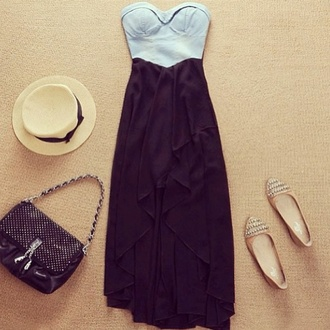 dress clothes high-low dresses demin bustier high low maxi dress sweetheart neckline black dress floppy hat flats strapless dress strapless hat top shoes vintage bag studs stud crop tops skirt shirt black blue dress blue and black black bag handbag gold shoes pumps brand shop cute dress
