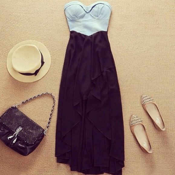 shop brand dress demin bustier high-low dresses high low maxi dress sweetheart neckline little black dress clothes floppy hat flats bustier dress strapless hat stud bag studs shoes vintage crop tops top skirt shirt black blue dress blue and black black bag handbag gold shoes pumps