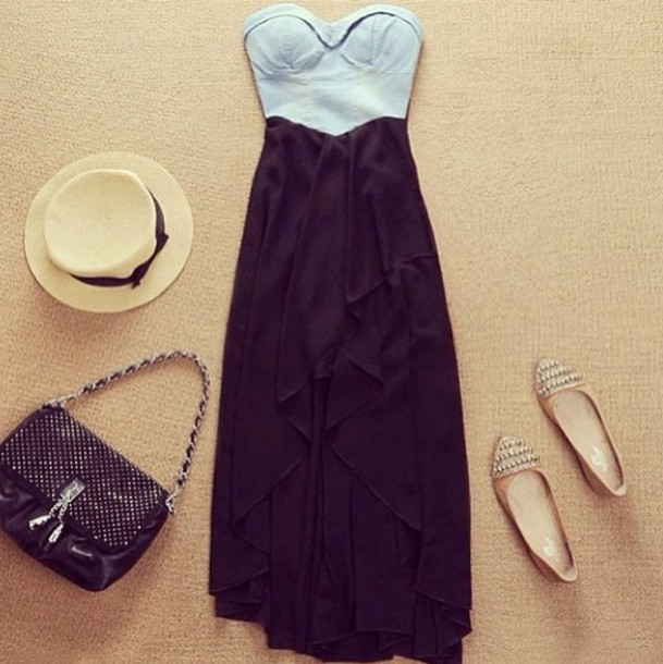 af8e1cf530 dress demin bustier high-low dresses high low maxi dress sweetheart  neckline black dress clothes