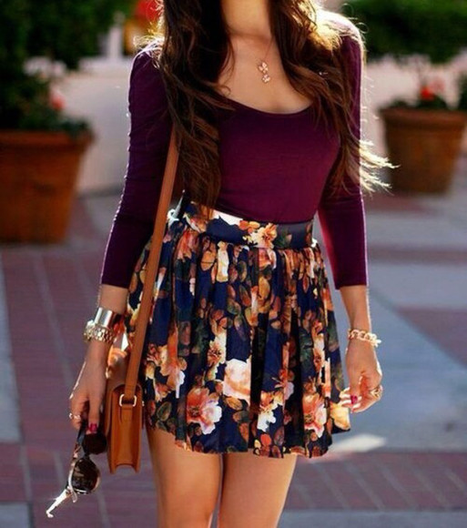 skirt circle skirt blouse flowers print
