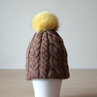 hat fur pom pom hat brown hat knitte hat cable knit cashmere hat merino wool womens beanie winter outfits coloured fur slouchy beanie