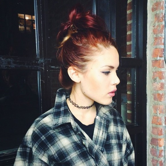 jewels flannel shirt choker necklace