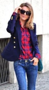 shirt,plaid,red and blue,blazer,button up,jacket,dark blue,blue,navy,big buttons,buttons,gold buttons,three buttons,women