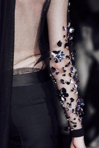 top mesh top sheer top embellished pattern