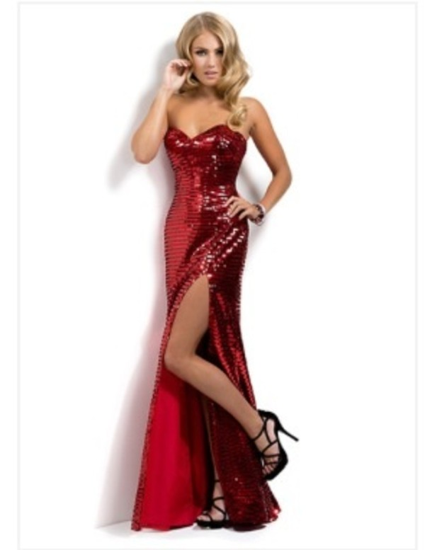 Dress: prom, prom dress, red prom dress, long prom dress, sequins ...