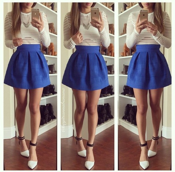 top sheer stripes cute top pretty girly instagram long sleeves see through girl skirt blue bright