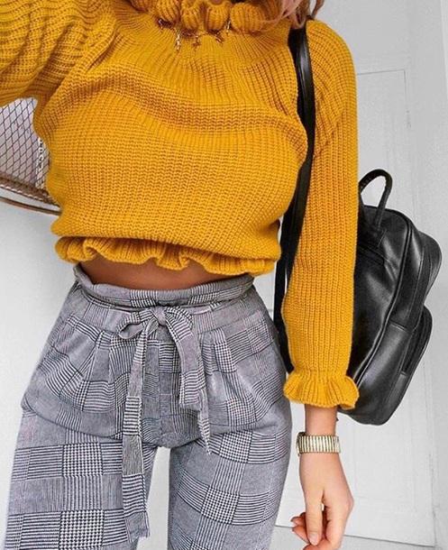 sweater yellow knitwear sweater cute pants yellow top black black bag huf socks #iwantttt top