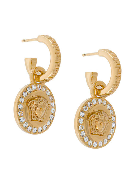 VERSACE metal women embellished earrings grey metallic jewels