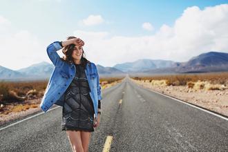 style scrapbook blogger denim jacket little black dress