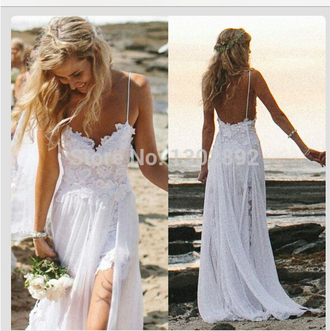 backless long prom dress chiffon prom dresses 2104 wedding dresses split gown beach wedding dresses