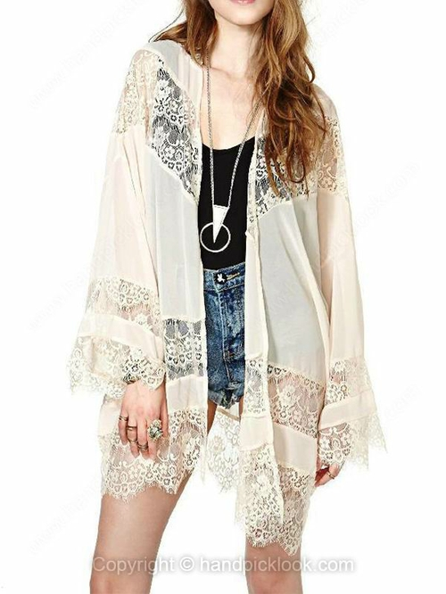 Beige collarless long sleeve lace chiffon coat
