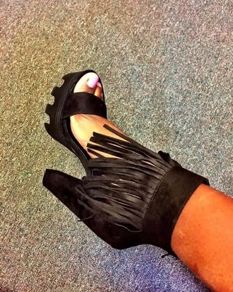 shoes black fringe shoes
