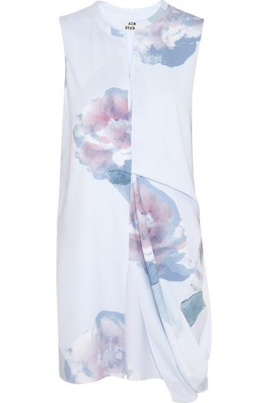 Acne|Pacific draped printed crepe dress|NET-A-PORTER.COM