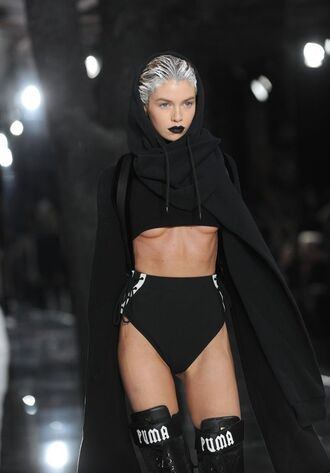 jacket puma puma x rihanna puma rihanna grey hair black cherry lipstick nyfw nyfw2016 all black everything
