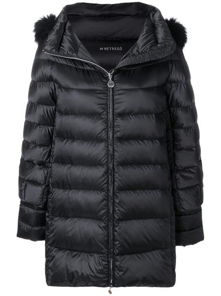 jacket long fur fox women black