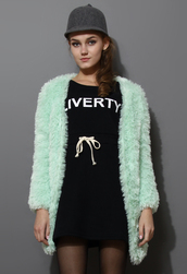 coat,mint,faux shearling,cardigan