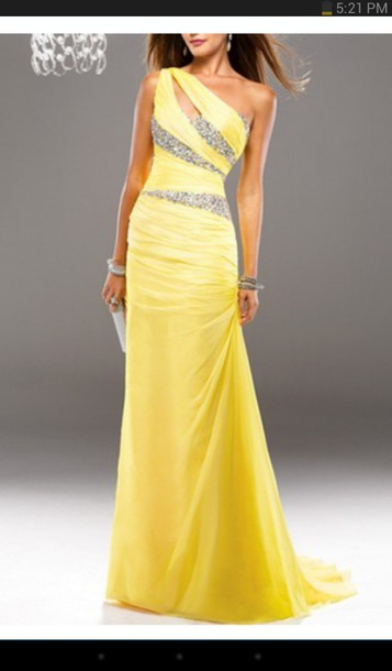 dress prom dress yellow dress rhinestone homecoming dress rhinestones dress prom gown