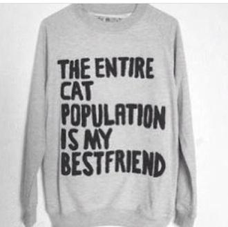sweater cat cats love sweaters sweatshirt grey black kitty cozy warm kitty cat cozy sweater wanted