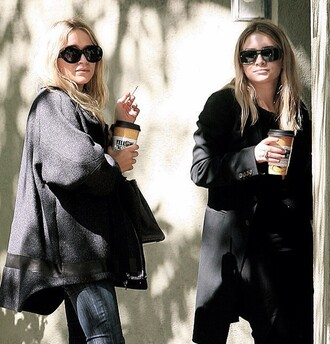 coat mary kate olsen ashley olsen sunglasses shoes pumps skinny jeans jeans