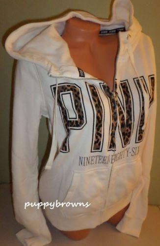 New 2013 Cream Victoria's Secret Pink Leopard Funnelneck Perfect Zip Hoodie L | eBay