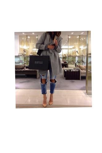 coat high heels grey coat ripped denim jeans nude high heels nude pointy heels shoes bag