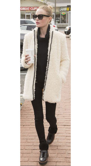winter outfits pants shoes coat sunglasses kate bosworth