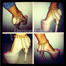 Gold ankle cuban link chain bracelet anklet celebrity styles