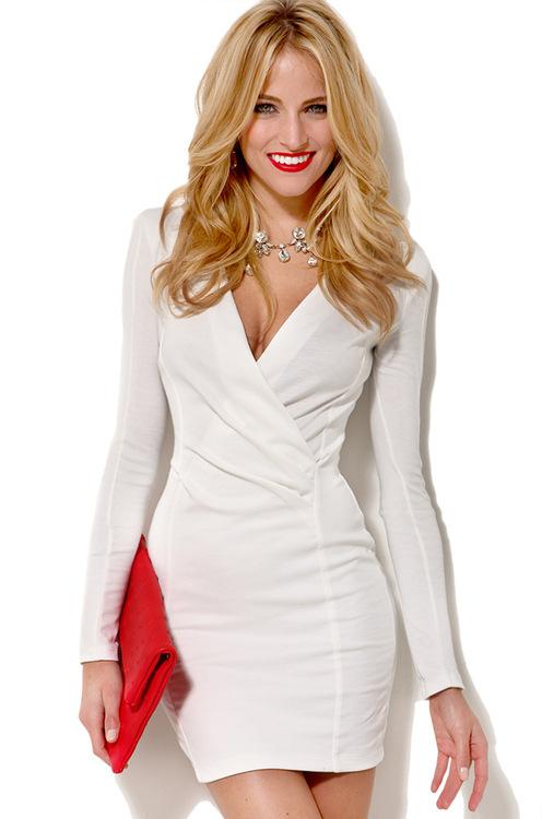 Cute long sleeve hot elegant dress