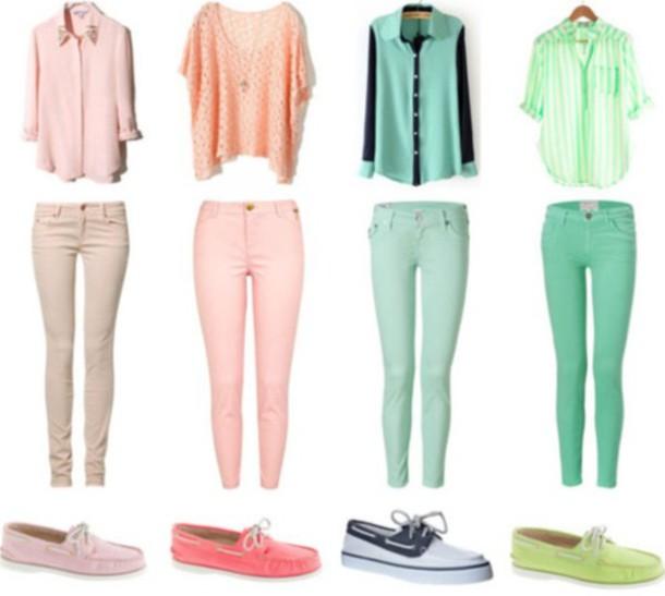 shirt pastel skinny jeans sleeveless blouse cute jeans shoes - Shirt: Pastel, Skinny Jeans, Sleeveless Blouse, Cute, Jeans, Shoes