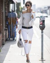 jeans,ripped jeans,off the shoulder,sunglasses,purse,alessandra ambrosio,pumps,belt,blouse,top,white jeans,bardot top