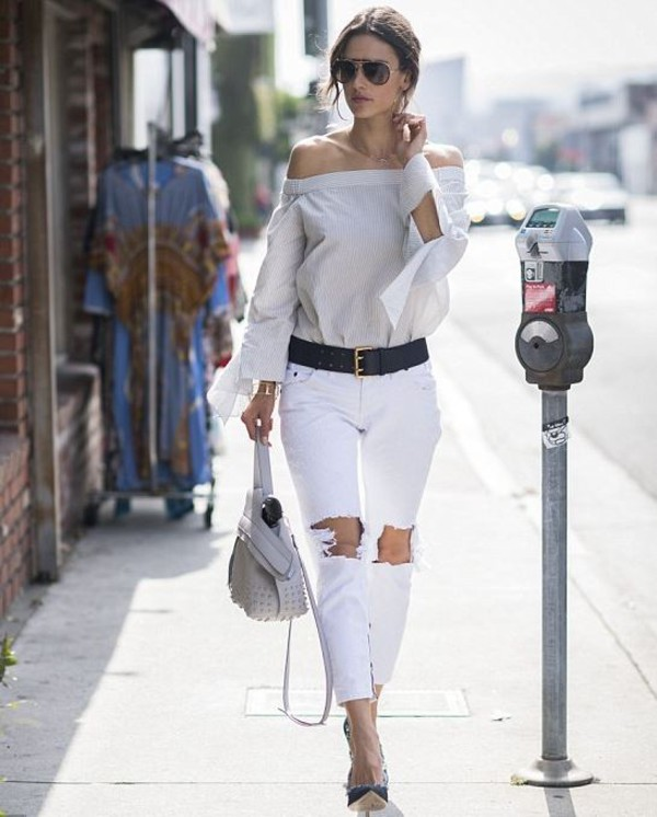jeans ripped jeans off the shoulder sunglasses purse alessandra ambrosio pumps belt blouse top white jeans bardot top