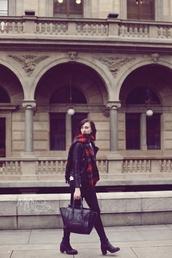 vogue haus,blogger,celine,black bag,tartan scarf,skinny jeans,black jeans