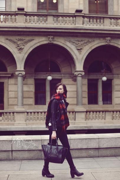 vogue haus blogger celine black bag tartan scarf skinny jeans black jeans