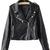 Black Zipper Embellished Cuffs PU Leather Biker Jacket - Sheinside.com