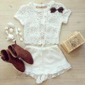 shirt white shirt crop tops lace lace top shoes