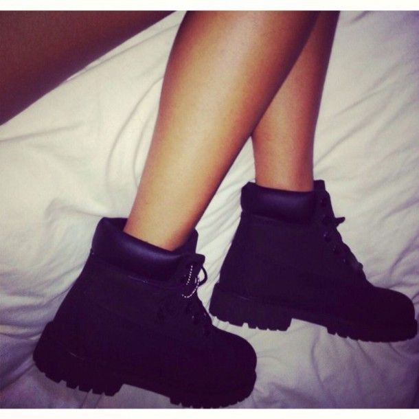 shoes all black everything ankleboots tumblr lace up black timberlands boots
