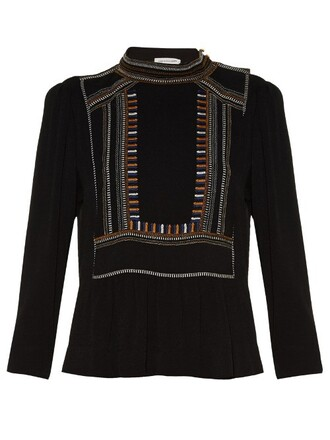 top embroidered high black