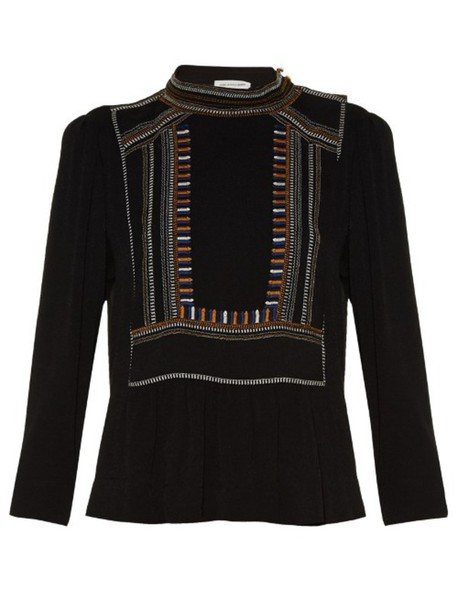 Isabel Marant etoile top embroidered high black