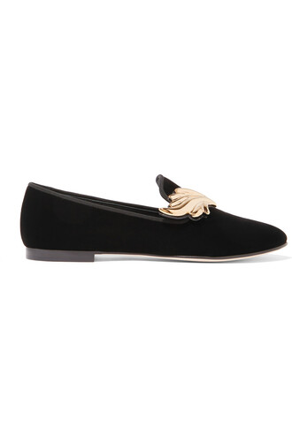 embellished loafers velvet black shoes