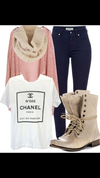 shirt channel pink white black boots scarf cardigan jeans tan peri.marie